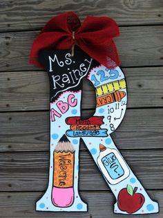 Teacher name signs, letter to teacher, teacher cards, teacher door hangers Teacher Name Plates, Teacher Name Signs, Teacher Cards, Teacher Door Hangers, Letter Door Hangers, Teacher Doors, Painting Wooden Letters, Diy Letters, Painted Letters