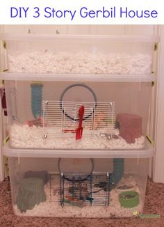 Has potential; would have bottom level be all for burrowing & tunneling. How to: DIY Three Story Gerbil Cage Also Good For Hamsters made from plastic storage containers. Dwarf Hamster Cages, Hamster Bin Cage, Gerbil Cages, Hamster Life, Hamster Habitat, Hamster Toys, Hamster Stuff, Hamster Ideas, Plastic Hamster Cage
