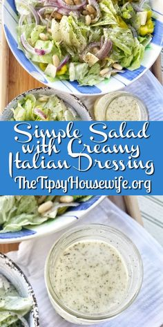 This vegetarian recipe won't have you missing the meat. What sounds better than a simple salad with an easy Creamy Italian Dressing for lunch or dinner. Italian Dressing Recipes, Salad Dressing Recipes, Italian Recipes, Salad Dressings, Italian Salad, Veggie Recipes, Salad Recipes, Vegetarian Recipes, Dinner Recipes