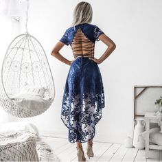 Mikaela Sexy Back Lattice and Lace Dress - White or Navy