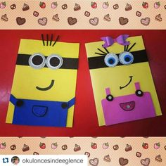 Minions craft idea for kids School Birthday, Birthday Cards, Folder Decorado, Minions, Minion Craft, Activities For Kids, Crafts For Kids, Puppet Crafts, Educational Crafts