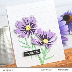 Flower Birthday Cards, Flower Cards, Paper Flowers, Cosmos Flowers, Alcohol Ink Crafts, Altenew Cards, Marker Art, Thank You Cards, Cardmaking