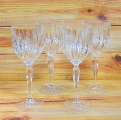 Crystal Tall Wine Glasses Set of 4 by ArtMaxAntiques on Etsy