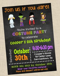 Costume Party Invitation Halloween Party by OhGoodyDesigns on Etsy