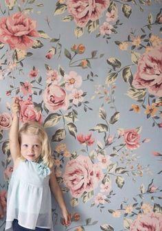 Floral Wallpaper Mural   Etsy #girlsroom