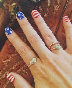 American flag themed nails