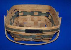 Longaberger Bayberry Basket 1993 Christmas Collection Green Reeds Brass Plate #Longaberger