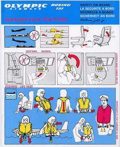 Olympic Airways Safety Card Boeing B737