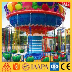 Modern New Design Musical Funfair Amusement Rides 16 Seats Flying Chairs Mini Flying Chairs Water Melon Flying Chairs