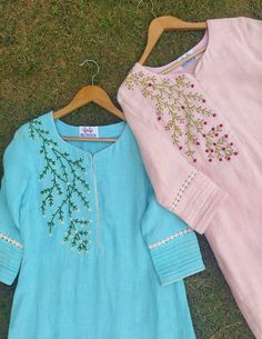 Embroidery On Kurtis, Hand Embroidery Dress, Kurti Embroidery Design, Embroidery Fashion, Embroidery Neck Designs, Simple Kurti Designs, Kurta Designs Women, Stylish Tops For Women, Stitching Dresses