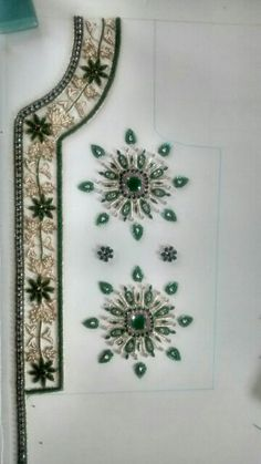 Jeweled with natural stones Pearl Embroidery, Tambour Embroidery, Indian Embroidery, Hand Embroidery Designs, Beaded Embroidery, Cross Stitch Embroidery, Embroidery Patterns, Bordados Tambour, Crochet Fashion