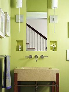 Vivid Green Bathroom Love The Light Fixtures