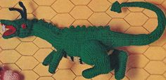 "Vintage Knitting Pattern Dragon Doll Toy 18"""