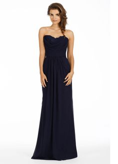 Jim Hjelm 5453 Indigo chiffon strapless A-line bridesmaid gown, cowl drape neckline with lace inset, natural waist with gathered skirt.