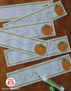 fall fine motor activities - pre-writing practice card freebie. Seven fun and exciting ways to work on fine motor skills this fall. Halloween themed fine motor activity ideas for preschool,pre-k, kindergarten, tot school, and early childhood education.