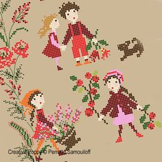 Perrette Samouiloff - Red Poppy Banner (cross stitch pattern)