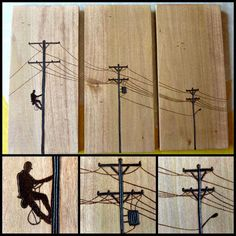 Hey, I found this really awesome Etsy listing at https://www.etsy.com/listing/195808366/hand-burned-power-lines-with-lineman-on: