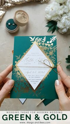 Gold wedding invitations - Green and gold wedding invitations with geomertic details moderwedding greenerywedding gold&green rusticglamwedding Gold Wedding Invitations, Wedding Stationary, Wedding Cards, Our Wedding, Dream Wedding, Fall Wedding, Wedding Rustic, Wedding Notes, Destination Wedding