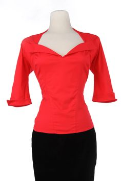 Final Sale - Pinup Couture Doris Top in Red