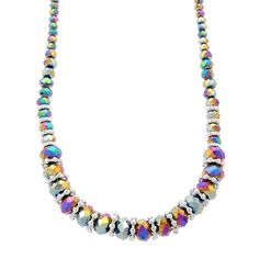 A bright multicolored strand of stunning rainbow beads mixed with rich rhodium detailing, this neckpiece is guaranteed to provide eye-catching allure! neckpiece plus extension. Fifth Avenue Collection, Types Of Metal, Mystic, Stylists, Beaded Necklace, Sterling Silver, Beads, Stone, Crystals