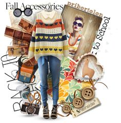 """""""Fall Back to Shool!"""" by pribortolon ❤ liked on Polyvore"""