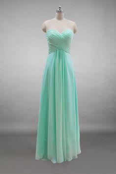 325d9200b76 Lace-up Back Sweetheart Mint Chiffon Long Bridesmaid Dress