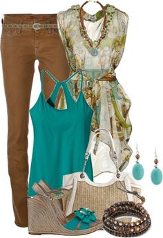 Loose the shoes get teal flats. Get a tan leather hand bag and you have yet another great outfit.