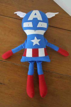 Captain America Boy Superhero Doll Soft by OhSewCuteByMel on Etsy