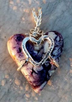 Tiffany Stone heart in heart suspenders pendant by LCDbyLinda