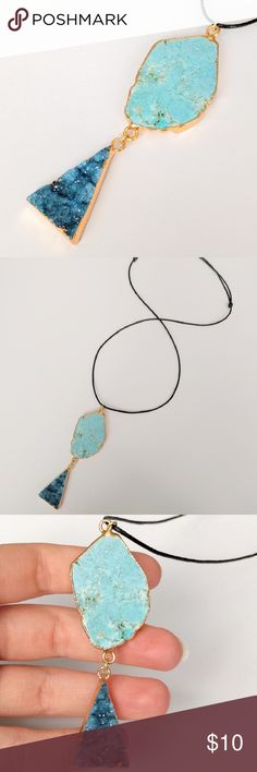 """Genuine druzy & howlite gold-plated necklace Natural beauty meets a cool geometric design in this gold-plated stunner!  Genuine agate druzy crystals sparkle in the prettiest shades of blue and are perfectly paired with a natural turquoise howlite stone!  Pendant is nickel and lead free and dangles from a vegan leather cord that slides easily to adjust to your favorite length.  PRICE IS FIRM and extremely reasonable, but click """"add to bundle"""" to save 10% on your purchase of 2+ items! Jewelry…"""