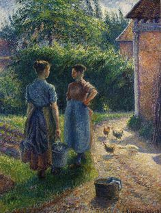 Peasants Chatting in the Farmyard, Eragny, Camille Pissarro Medium: oil,canvas