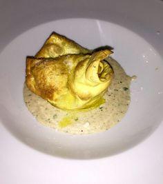 Lasagnette con castagne e porcini su fonduta di pecorino romano