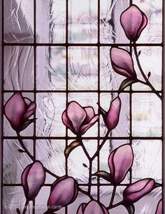 Magnolia stained glass window - Deborah Lowe Architectural Stained Glass.