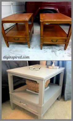 Nightstand Makeover DIY with step by step photo tutorial.