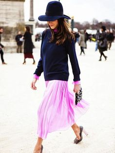 sweaters-over-dresses-ladylike-femme-mod-stacked-heels-pleated-skirt-navy-sweater-pink-wide-brim-hat-floppy-hat-via-candice-lake