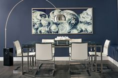 Shining Sea: Ocean hues of white and navy ground the room in classic colors, leaving the rest of the space open for more modern pieces. Tessa Dining Table, $999