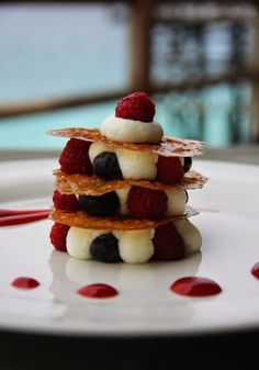 Mille feuille with white chocolate yoghurt mousse
