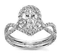 Platinum Diana Tiara Pear Sareen Engagement Setting (0.85ctw) by Novori