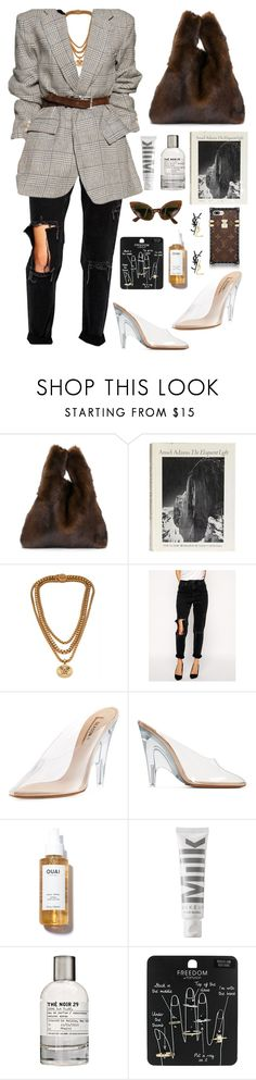 """""""just got some time"""" by millicent4 ❤ liked on Polyvore featuring Simonetta Ravizza, Versace, ASOS, Yeezy by Kanye West, adidas Originals, MILK MAKEUP, Le Labo, Topshop, Oleg Cassini and Yves Saint Laurent"""