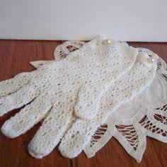 Crocheted wedding gloves