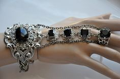 Gothic GALORE Jet Black Swarovski Crystal slave by cynthiacouture, $179.00