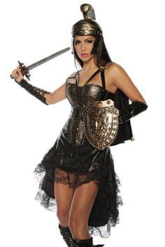 Goldenes Damen Gladiator Römer Outfit Verkleidung mit Corsage Rock Schulterpanzer und Armstulpen (XL)