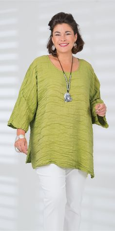 Grizas lime silk/linen batwing top