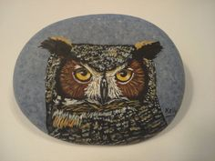 Great Horned Owl portrait hand painted on a by wildstonepainter