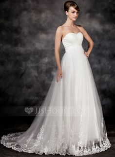 Empire Sweetheart Court Train Satin Tulle Wedding Dress With Appliques Lace (002017117)