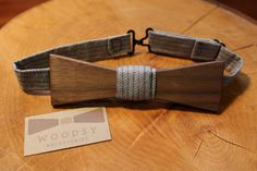 Handcrafted Wooden Bow Tie Black Walnut by WoodsyAccessories