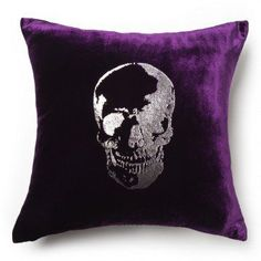 .purple skull plush throw cushion Purple.... Velvet... let me say that again: Purple.... Velvet...