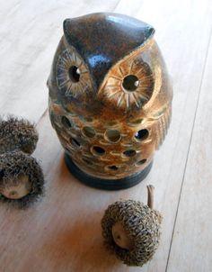 CERAMIC OWL CANDLEHOLDER for tealights or votive candles