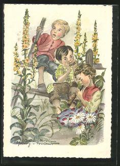 Künstler-AK Schwarz-Torino: Kinder musizieren im Garten mit Mundharmonika und…