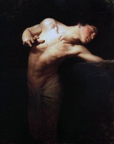 """Narcissus"" - Gyula-Benczúr (Hungarian, 1844–1920), realist, 1881, oil on canvas {figurative realism art male human body bare-chested standing man painting #nineteenthcentury #twentiethcentury #arthistory}"